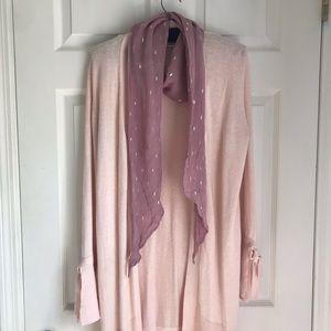Loft Soft pink long cardigan/ duster tie sleeves